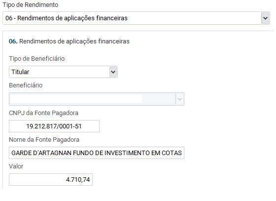 preenchimento rendimentos de fundos de investimentos