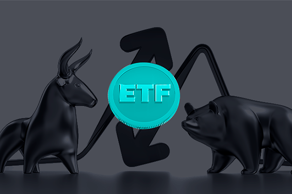 O que são ETFs - Um touro e um urso ao fundo com uma moeda em destaque com as letras