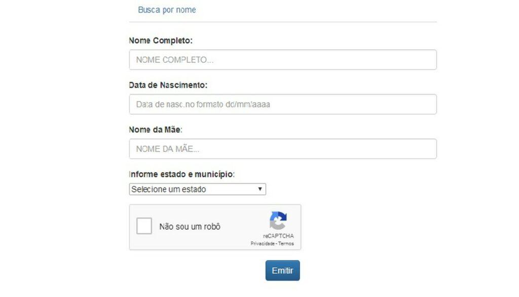 Formulário consulta cidadão