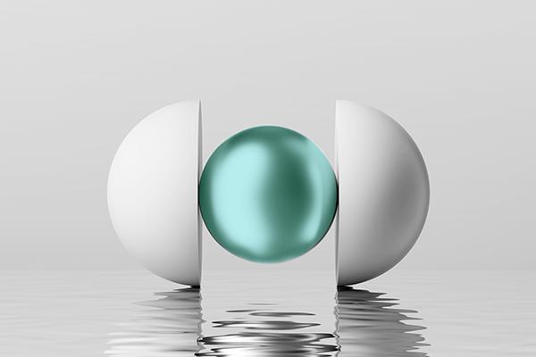 Retorno Esperado - Imagem que ilustra o texto. Uma esfera em destaque no meio de 2 metades de esfera