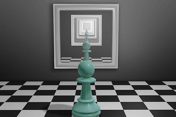 SMAL11 - Peça de xadrez diante um espelho